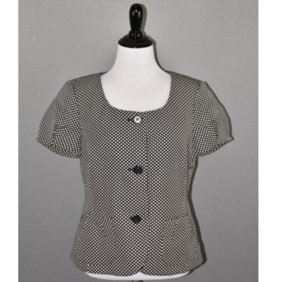 083b352c30 Ann Taylor Checkered Short Sleeve Scoop Blazer NEW